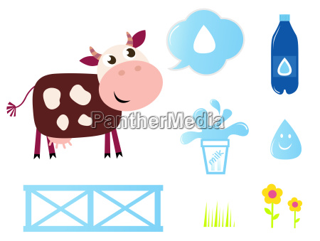 cow milk and dairy icons collection
