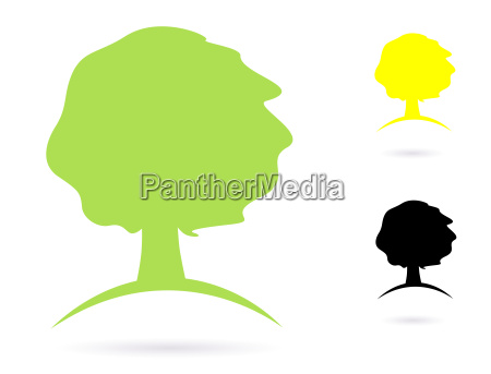 simple old tree abstract vector icon