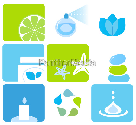 natural cosmetics and spa icons and