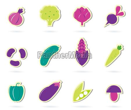 stylized retro vegetable icons isolated