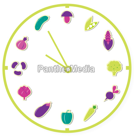 time to eat healthy food isolated