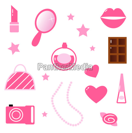 girls pink icons and elements isolated