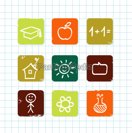 doodle school amp education icons collection