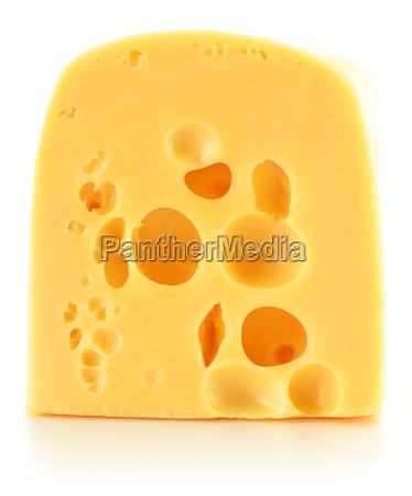 composition with piece of cheese isolated