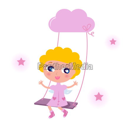 cute little angel child isolated on