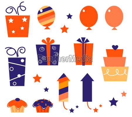 birthday icons amp elements collection isolated