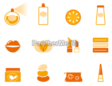 wellness spa and cosmetic icons set