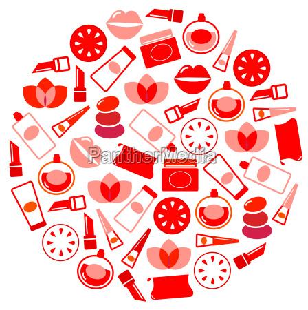 wellness und kosmetik symbole kreis auf