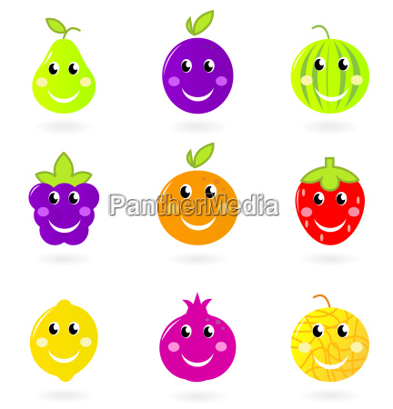 cartoon smiling fruit characters icon set