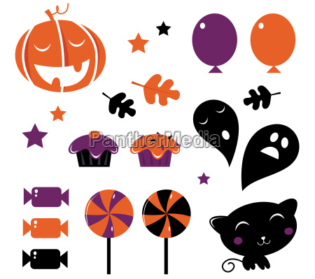 halloween icons and retro elements isolated