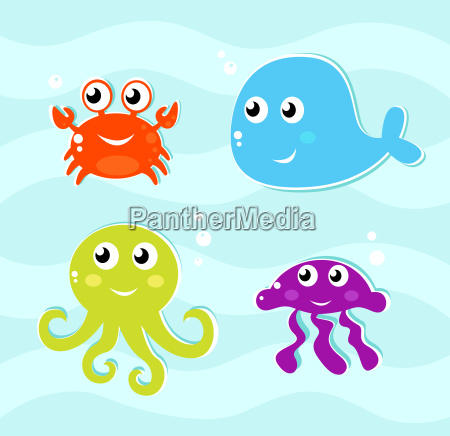cute water animals icons collection isolated