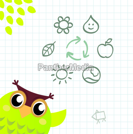 recycle owl with ecology and nature