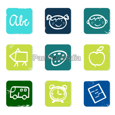 back to school doodle icons set