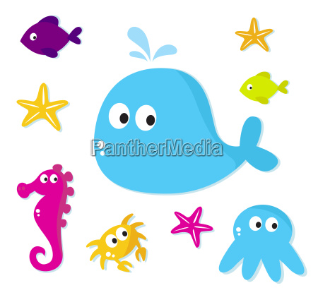 cartoon sea fishes and animals icons