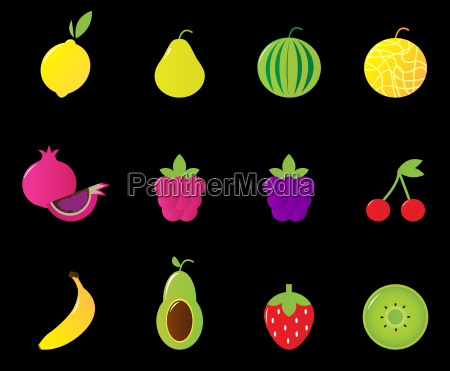 fresh fruit amp berries icon set