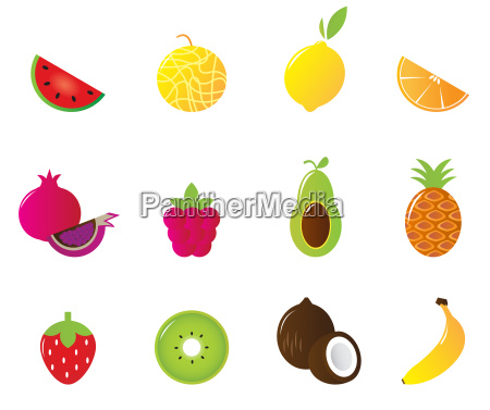 juicy fruit icons set isolated on