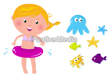 cute swimmer girl and ocean animals