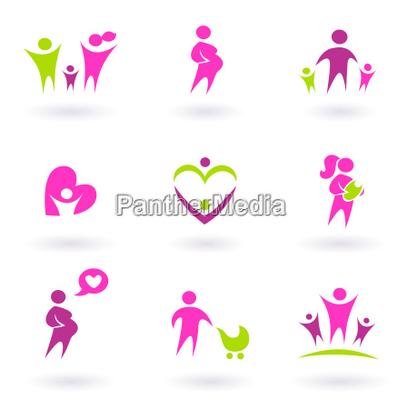 maternity pregnancy and health icons isolated