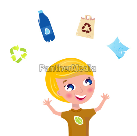 little boy support recycling isolated on