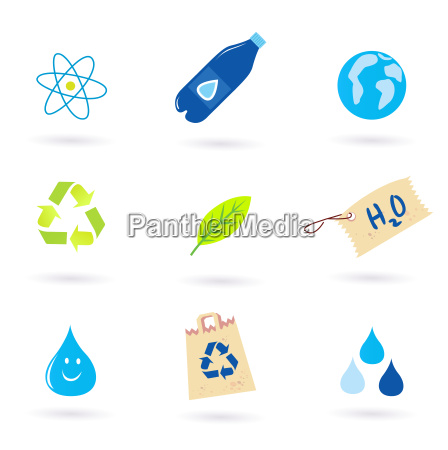 recycle water and nature icons isolated