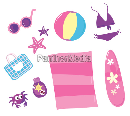 summer travel and beach icon set