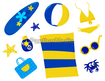 summer and beach icons and accessories