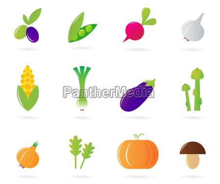 fresh vegetable icons collection isolated on