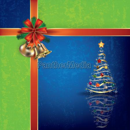 weihnachten blauer gruss mit handglocken und