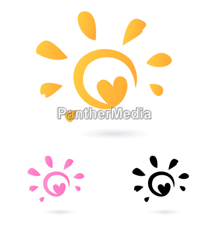 abstract vector sun icon with heart
