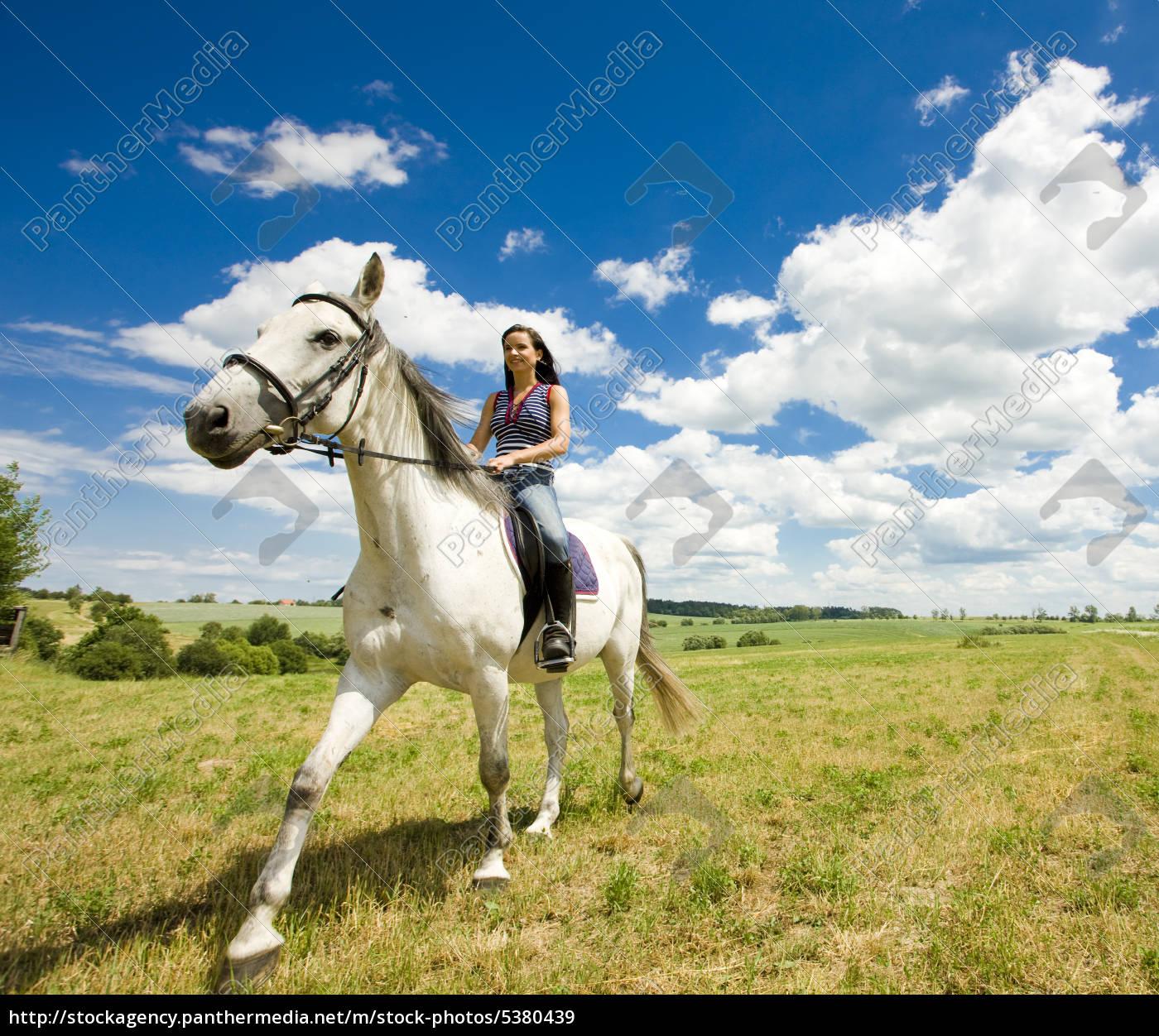 reiten, auf, dem, pferderücken - 5380439