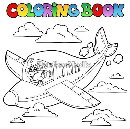 malbuch mit cartoon flieger