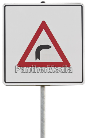 german traffic sign right turn with