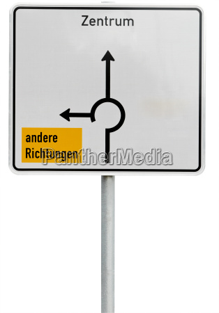 white direction sign clipping path included