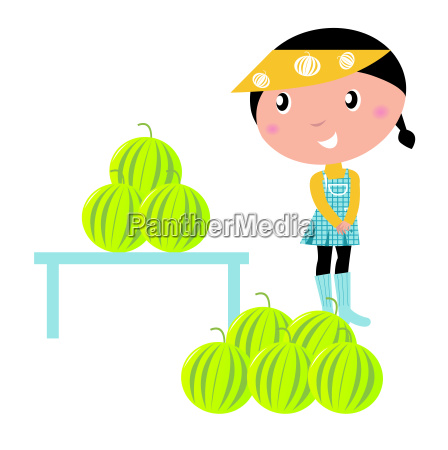cute girl with fresh water melons