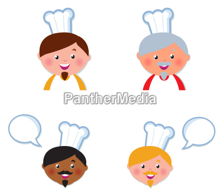 cute chef heads icons collection isolated