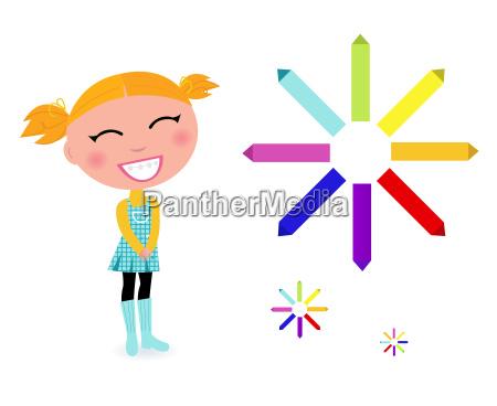 school girl with rainbow pastel pencils