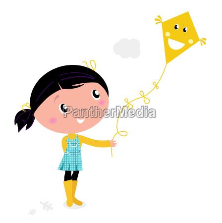 little cute girl flying kite isolated