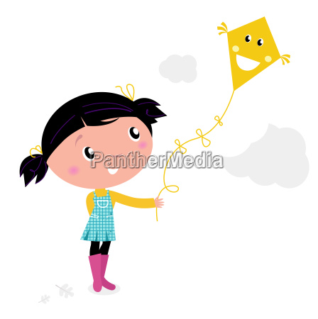 little cute kid flying kite isolated