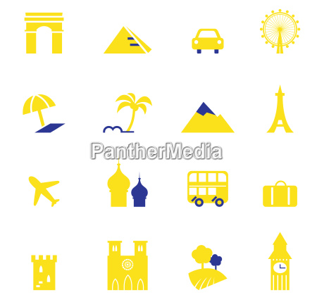 travel vacation amp landmarks icons collection
