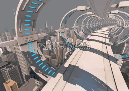 futuristisches stadtbruecke