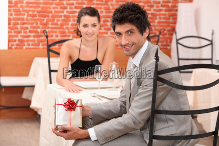 couple dining in a romantic restaurant