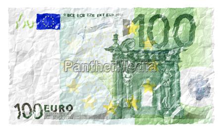 euro geldschein faltig