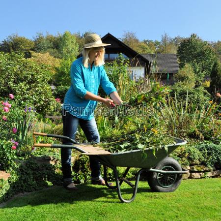 woman at the garden maintenance