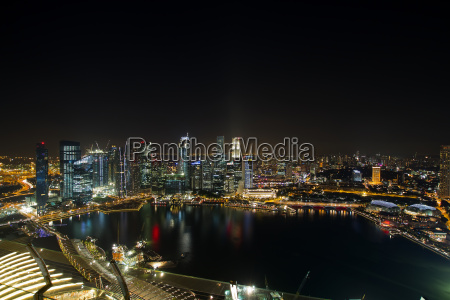 singapore central business district skyline night