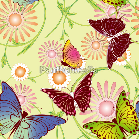 abstract springtime colorful floral butterfly seamless