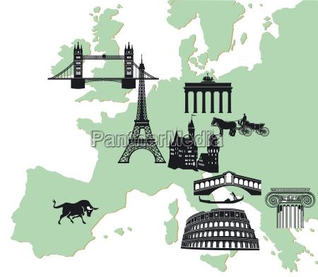 europakarte mit europaeischen sehenswuerdigkeiten