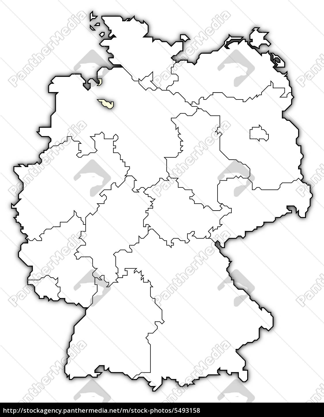 Stock Bild 5493158 - Map of Germany Bremen highlighted