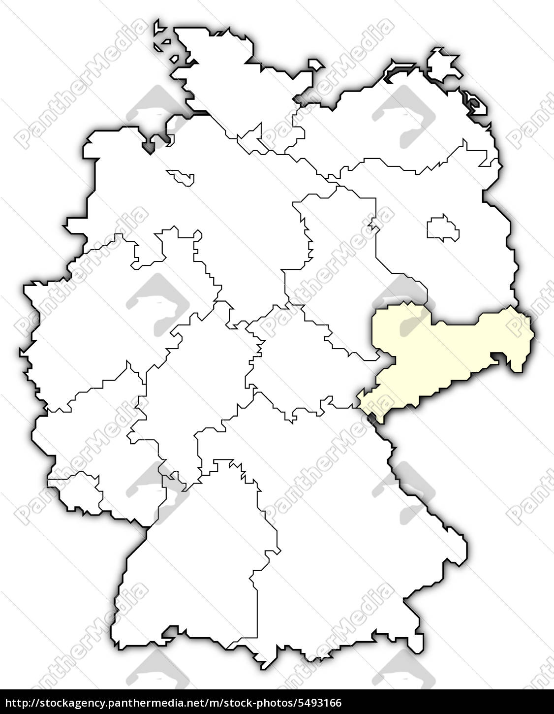 Map of Germany, Saxony highlighted - Stock Photo - #5493166 ...