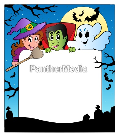 frame with halloween characters 2
