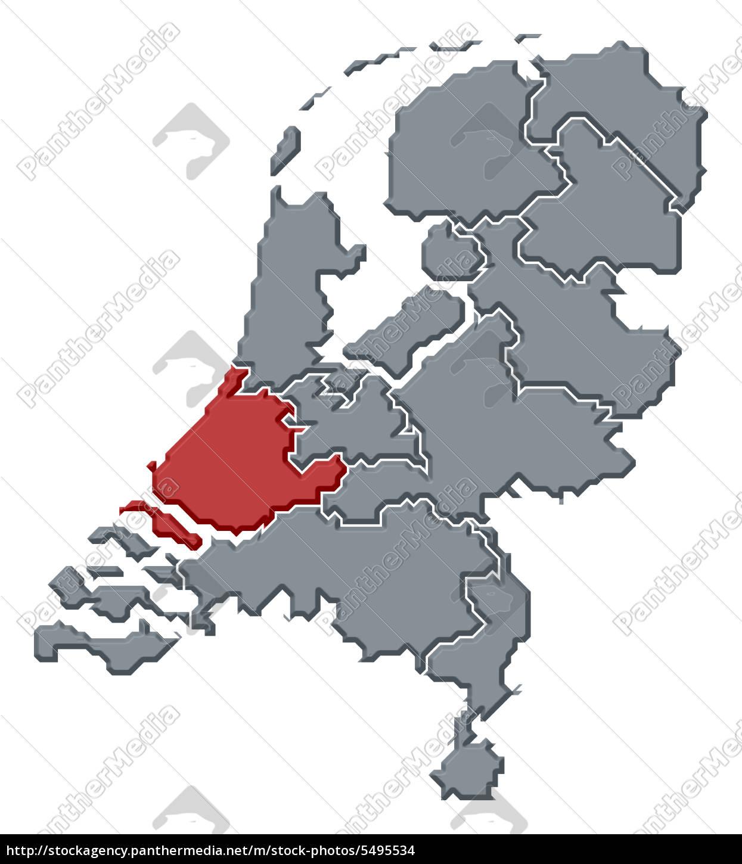 Stock Bild 5495534 - karte von niederlande süd holland hervorgehoben